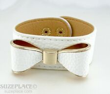 NEW RUSTIC WIDE BOW CUFF BRACELET SOFT LEATHER PINK BLACK BLUE WHITE RED