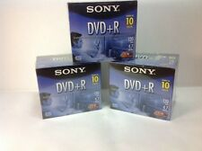 New Sealed 3 - Sony DVD+R 10 Packs.  Total 30 Blank DVD's