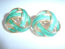 Vintage Retro, 80s, Kitsch Jade Green Enamel Gold Tone Twist Knot Stud Earrings