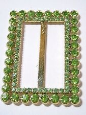 LIME GREEN RHINESTONE CHARTREUSE BUCKLE SASH VINTAGE SPARKLY PRETTY