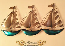 Boat Ship Sailboat Wall Art Hanging Iron Sculpture Metal Hand Craft Painted 53CM