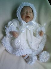 "KNITTING PATTERN 3 PIECE DRESS SET BABY NEWBORN OR REBORN DOLL 17""-18"" No 21"