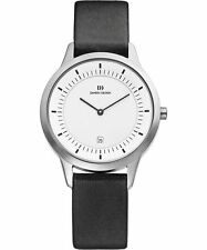 Danish Design IQ12Q984 White Dial Stainless Steel Black Leather Men's Watch