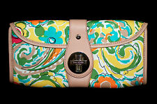 KATE SPADE Turnlock Clutch Purse Green Yellow Blue Floral w/ Leather Trim