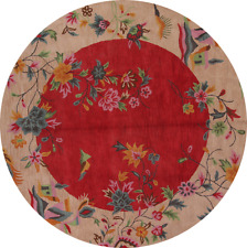 Floral Round 10x10 Art Deco Chinese Pattern Oushak Oriental Area Rug Wool Carpet