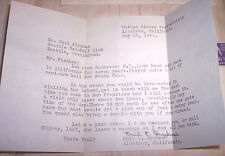 ALCATRAZ LETTER FROM GUARD RYCHNER TO MAJOR LEAUGE PLAYER TO COME VIST