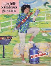 PUBLICITE ADVERTISING 045 1985 BUTAGAZ la bouteille des barbecues
