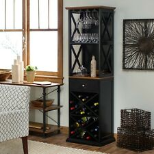 Wine Rack Tower Home Bar Furniture Rustic Wood Bottle Liquor Storage  Cabinet