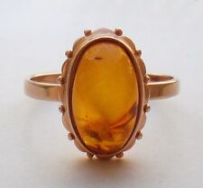 Russian Russia Soviet USSR 14K 583 Rose Pink Gold Honey Baltic Amber RING 3.1 gr