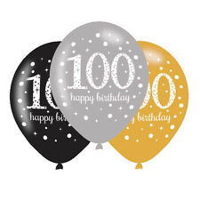 6 x 100th Birthday Balloons Black Silver Gold Party Decorations Age 100 Balloons