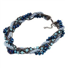 Chunky Blue Resin Beads Multi Strands Chain Women Jewelry Choker Necklace