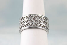Floral Filigree Ring with 20 Cubic Zirconia Silver Plated Size 7