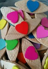 JOB LOT 50 HANDMADE CANDY COLOURED WOODEN HEART BROOCHES - wedding party favours