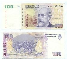 ARGENTINA REPLACEMENT NEAR SOLID NOTE 100 PESOS 2012-4 DEL PONT-BOUDOU P 357 VF+