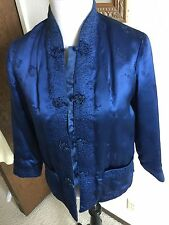 Traditional Chinese Dk Blue Silk Insulated Mandarin Peony Brand Jacket Size S M