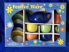 Schylling Festive Ware 13 Piece China Ceramic Tea Set Blue Yellow Green Orange
