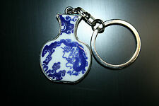 KEY RING SILVERTONE ORIENTAL BLUE/ WHITE REMINESCENT OF MING DYNASTY VASE
