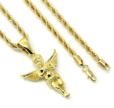 "Men's 14k Gold Plated Open Wings Angel Pendant Hip-Hop 30"" 4mm Rope Chain"