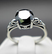 2.29cts 8.92mm Natural Black Diamond Ring, Certified AAA Grade & $1305 Value