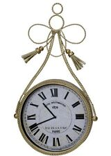 VINTAGE Antique Gold Metal Braided Tassle  Round Wall Clock NEW French Parisian