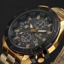 Mens Luxury Gold Stainless Steel Black Dial Date Quartz Analog Wrist Watch