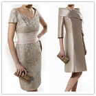 Free Coat Champagne Mother Of the Bride/Groom Outfits Lace Wedding Guest Dresses