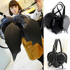 Women Fashion Black Heart-shaped With Bat Wings Lace Leather Purses Backpack Bag