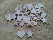 "Unfinished Wood Wooden Shapes Small 1 "" Hearts and Stars Lot of 50"