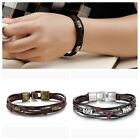 New Men's Braided Genuine Leather Stainless Steel Cuff Bangle Bracelet Wristband