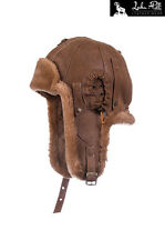 NEW REAL SHEEPSKIN LEATHER AVIATOR TRAPPER USHANKA HAT SIZE L