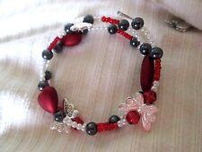 Hearts& Butterfly's  Bracelet HandmadeNickal Free Memory Wire Red/Silver/black