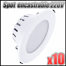 lot x10 Spot led downlight rond encastrable 3w blanc froid plafonnier encastré