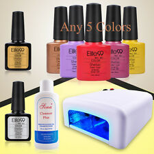 PICK 5 COLORS UV GEL NAIL POLISH + 36W UV LAMP + TOP BASE COAT SET MANICURE KIT