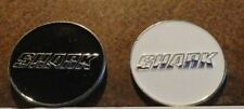 2 GREG NORMAN SHARK GOLF BALL MARKERS & HAT CLIP  BLACK & WHITE SHARK MARKERS