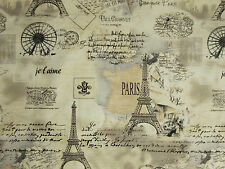 VINTAGE PARIS EIFFEL TOWER MAP SCRIBE TANS COTTON FABRIC BTHY