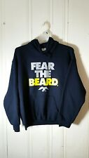 DUCK COMMANDER FEAR THE BEARD MEN'S LARGE BLUE PULL OVER HOODIE L/S GRAPHIC
