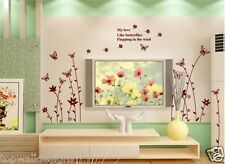 Flower Butterfly Home Wall Decor Art Mural 9024 PVC Vinyl Wall Stickers Decal