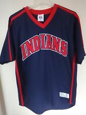 Vintage MLB True Fan Cleveland Indians Pullover Sewn Baseball Jersey Men Medium
