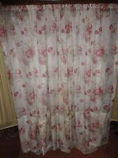 CUSTOM WAVERLY VINTAGE NORFOLK ROSES RED FLORAL (1) SHEER CURTAIN PANEL 65 X 153