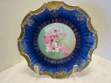 Empire China England Cobalt Blue Gold Trimmed Floral Masonic Plate 1907 # 620