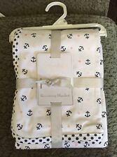 STERLING BABY RECEIVING BLANKET COTTON KNIT HEARTS ANCHOR INFANT SOFT