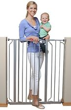 Regalo Deluxe Easy Step Extra Tall Walk Thru Baby Pet Child Safety Gate Platinum