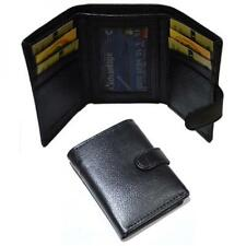 Real Black Leather Mini Wallet Button Down Coin Purse Card Slots Present GIFT