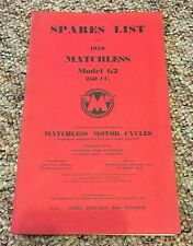 1959 MATCHLESS MOTORCYCLES MODEL G2 250CC SPARES LIST BOOKLET