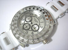 Hip Hop Big Case Rubber Band Techno King Men's Watch White Item 2794