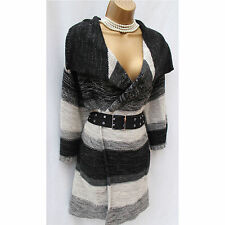 Karen Millen Black Grey Tie Dye Chunky Knit Jumper Cardigan & Belt KM-4 14-16 UK