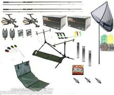 Full Carp Fishing Rods Reels Tackle Set Up Kit  Alarms Bait Tools Mat PC6 + More