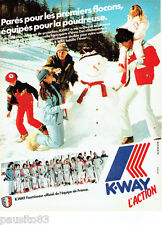 PUBLICITE ADVERTISING 016  1982  K-WAY   vetements de ski EQUIPE DE fRANCE