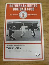 11/12/1971 Rotherham United v York [FA Cup] (Pliegue débil). este artículo está en