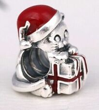 KITTEN CAT w CHRISTMAS GIFT RED & HAT  925 Sterling Silver European Charm Bead